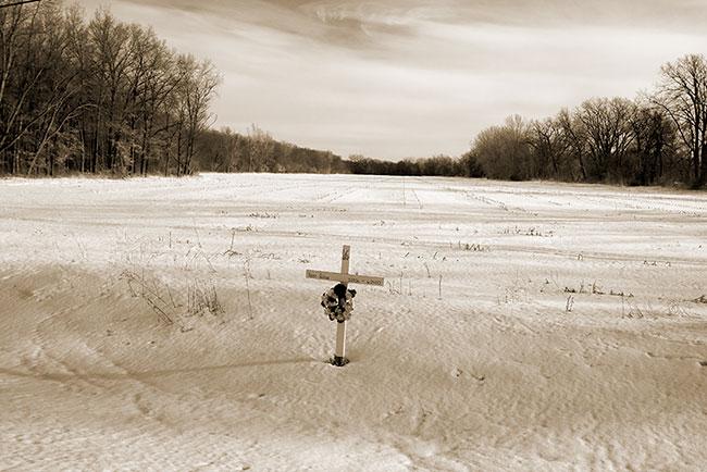 Roadside Cross and SnowField